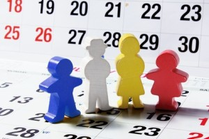 Family Figures on Calendar Page